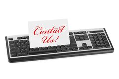 Computer keyboard and card Contact Us Royalty Free Stock Photography