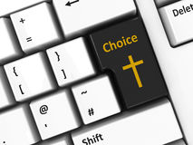 Computer keyboard choice. Choice key with cross of Christ on the computer keyboard, three-dimensional rendering Royalty Free Stock Photography