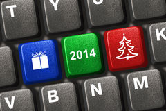 Computer keyboard with Christmas keys Royalty Free Stock Photo