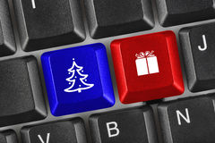 Computer keyboard with Christmas keys Royalty Free Stock Photos
