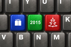 Computer keyboard with Christmas keys. Holiday concept Stock Photo