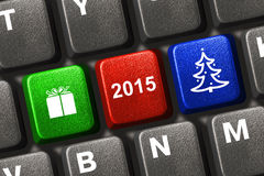 Computer keyboard with Christmas keys. Holiday concept Stock Images