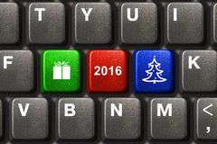 Computer keyboard with Christmas keys Royalty Free Stock Image