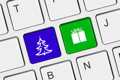 Computer keyboard with Christmas keys Stock Image