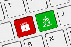 Computer keyboard with Christmas keys. Holiday concept Royalty Free Stock Photos