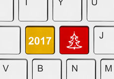 Computer keyboard with Christmas keys Royalty Free Stock Photography