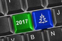Computer keyboard with Christmas keys Stock Photography