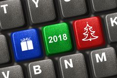 Computer keyboard with Christmas keys. Holiday concept Royalty Free Stock Photography