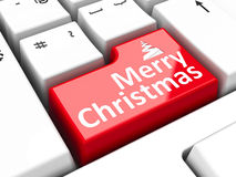 Computer keyboard Christmas. Computer keyboard with Merry Christmas key, three-dimensional rendering Royalty Free Stock Photography