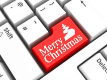 Computer keyboard Christmas  2. Computer keyboard with Merry Christmas key, three-dimensional rendering, 3D illustration Royalty Free Stock Images