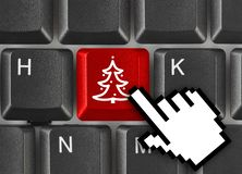 Computer keyboard with Christmas tree key royalty free stock photo