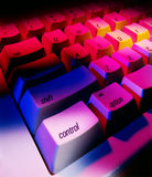 Computer keyboard close up with control key. Computer keyboard close up with colorful lighting Stock Photography
