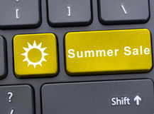 Computer keyboard in close-up with summer sale Stock Photography
