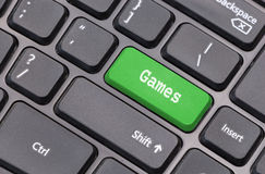 Computer keyboard closeup with Game text Royalty Free Stock Photo