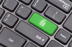 Computer keyboard closeup with gift box sign Stock Image