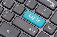 Computer keyboard closeup with  Log in text Royalty Free Stock Photo