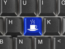 Computer keyboard with coffee key Stock Photos
