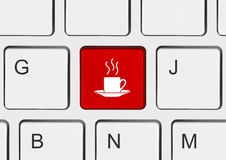 Computer keyboard with coffee key Royalty Free Stock Images