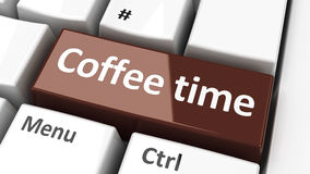 Computer keyboard coffee time Royalty Free Stock Photos