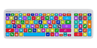 Computer keyboard with color social media keys. Creative abstract social media network and computer internet web www communication concept: PC keyboard with Stock Photography