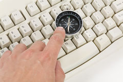 Computer Keyboard and Compass Royalty Free Stock Photography