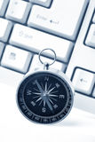 Computer Keyboard and Compass Royalty Free Stock Image