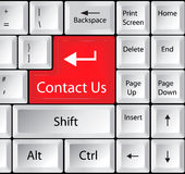Computer Keyboard with Contact Us Key Stock Images
