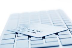 Computer keyboard and credit card Stock Images