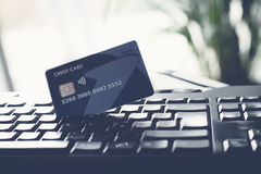 Computer Keyboard and Credit Card. For ecommerce concept royalty free stock image