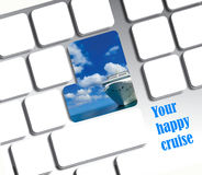 Computer keyboard with cruise ship frame. Online travel and holiday concept. Stock Images