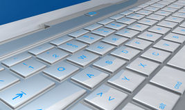 Computer keyboard. 3d illustration of computer keyboard receding into distance Royalty Free Stock Photography