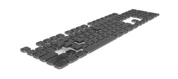Computer Keyboard, Dark Metal. Computer Keyboard button elements, 3d, over white Royalty Free Stock Image