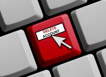 Computer Keyboard: Delete Account. Computer Keyboard with Mouse arrow showing Delete Account stock photography