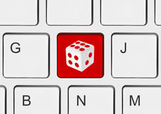 Computer keyboard with dice key Stock Images