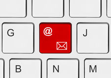 Computer keyboard with e-mail key Royalty Free Stock Photos