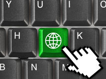 Computer keyboard with Earth key Stock Image