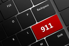 Computer keyboard with emergency number 911. Closeup of computer keyboard with emergency number 911 Royalty Free Stock Photography