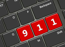 Computer keyboard with 911 emergency number. Closeup of computer keyboard with 911 emergency number Royalty Free Stock Images