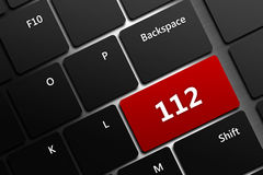 Computer keyboard with emergency number 911. Closeup of computer keyboard with emergency number 911 Stock Image