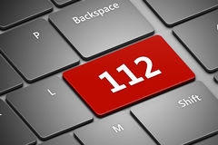 Computer keyboard with emergency number 112 Royalty Free Stock Photos