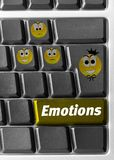 Computer keyboard with emotions signs Stock Photo