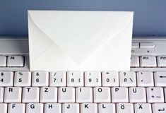 Computer keyboard and envelope. e-mail. Royalty Free Stock Image