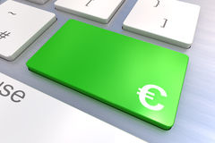 Computer keyboard with a Euro Button Concept. Computer keyboard rendered illustration with a Euro Button Concept Stock Images