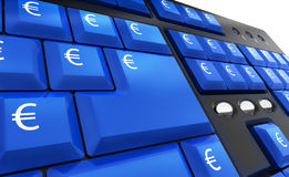 Computer keyboard with euro keys Stock Photography
