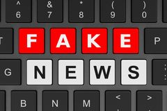 Computer Keyboard Fake News Concept vector illustration