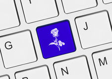 Computer keyboard with flower key Royalty Free Stock Photo