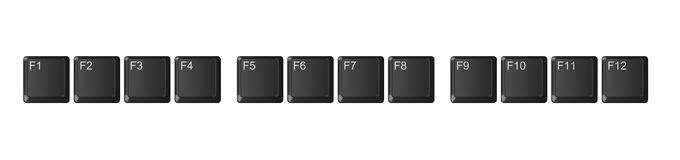 Computer keyboard function keys, black Stock Image