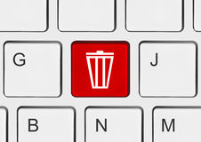Computer keyboard with garbage key Stock Images