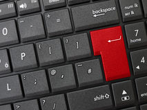 Computer keyboard generic red enter key. Blank key ready for your word or message Royalty Free Stock Image