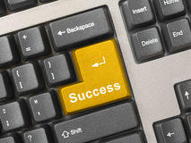 Computer keyboard -  gold key Success Stock Photo
